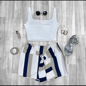 NWT $60 Striped Knotted Waist Skirt Skort